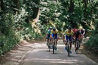 racing through the forest with David Boucher (BEL/Tarteletto-Isorex) leading<br /> <br /> 3rd Dwars Door Het hageland 2018 (BEL)<br /> 1 day race:  Aarschot > Diest: 198km