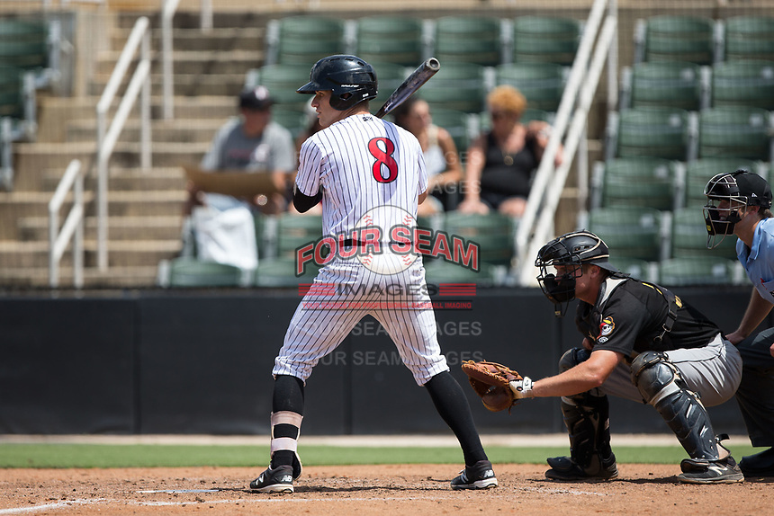 Zach Remillard (8) of the Kannapolis Intimidators at bat against the West Virginia Power at Kannapolis Intimidators Stadium on June 18, 2017 in Kannapolis, North Carolina.  The Intimidators defeated the Power 5-3 to win the South Atlantic League Northern Division first half title.  It is the first trip to the playoffs for the Intimidators since 2009.  (Brian Westerholt/Four Seam Images)