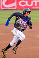 Cedar Rapids Kernels infielder Royce Lewis (30) races to third base during a Midwest League game against the Kane County Cougars on April 21, 2018 at Perfect Game Field at Veterans Memorial Stadium in Cedar Rapids, Iowa. Kane County defeated Cedar Rapids 9-2. (Brad Krause/Four Seam Images)
