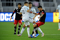 WASHINGTON, DC - MAY 13: Junior Moreno #5 of D.C. United battles for the ball with Przemyslaw Frankowski #11 of Chicago Fire during a game between Chicago Fire FC and D.C. United at Audi FIeld on May 13, 2021 in Washington, DC.