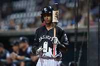 Terrell Tatum (7) of the Winston-Salem Dash waits for his turn to bat during the game against the Asheville Tourists at Truist Stadium on September 17, 2021 in Winston-Salem, North Carolina. (Brian Westerholt/Four Seam Images)