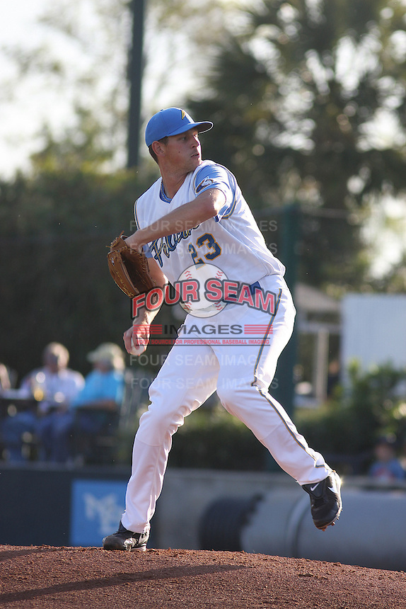 Myrtle Beach Pelicans pitcher Nick Tepesch #23 during a game against the Wilmington Blue Rocks at Tickerreturn.com Field at Pelicans Ballpark on April 8, 2012 in Myrtle Beach, South Carolina. Wilmington defeated Myrtle Beach by the score of 3-2. (Robert Gurganus/Four Seam Images)