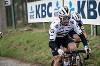 World Champion Julian Alaphilippe (FRA/Deceuninck - QuickStep) up the Molenberg cobbles<br /> <br /> 76th Omloop Het Nieuwsblad 2021<br /> ME(1.UWT)<br /> 1 day race from Ghent to Ninove (BEL): 200km<br /> <br /> ©kramon