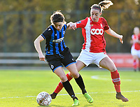 Debbie Decoene (21 Brugge) pictured in a fight for the ball  with Standard's Charlotte Cranshoff during a female soccer game between Standard Femina de Liege and Club Brugge YLA on the seventh matchday of the 2020 - 2021 season of Belgian Scooore Womens Super League , saturday 14 th of November 2020  in Angleur , Belgium . PHOTO SPORTPIX.BE | SPP | DAVID CATRY