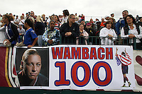 Fans hung a banner honoring Abby Wambach (not pictured) of the United States (USA) after she scored her 100th career goal. The United States (USA) Women's National Team defeated Canada (CAN) 1-0 during an international friendly at Marina Auto Stadium in Rochester, NY, on July 19, 2009.