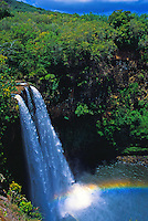 Wailua falls with rainbow, islands of Kauai