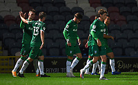 Sheffield Wednesday's Josh Windass is congratulated on scoring his team's second goal<br /> <br /> Photographer Dave Howarth/CameraSport<br /> <br /> Carabao Cup Second Round Northern Section - Rochdale v Sheffield Wednesday - Tuesday 15th September 2020 - Spotland Stadium - Rochdale<br />  <br /> World Copyright © 2020 CameraSport. All rights reserved. 43 Linden Ave. Countesthorpe. Leicester. England. LE8 5PG - Tel: +44 (0) 116 277 4147 - admin@camerasport.com - www.camerasport.com