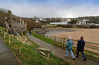 WORDS BY JANE FRYER, DAILY MAIL<br /> Pictured: Coastal path walkers in Aberporth, west Wales, UK. Thursday 21 December 2017<br /> Re: The Welsh coastal village of Aberporth has launched a crusade against single-use plastic products.<br /> The village's general store is selling milk in glass bottles and a pub has replaced plastic drinking straws with paper ones.<br /> Residents launched Plastic-free Aberporth as the UK government's Environment Secretary, Michael Gove, issued his four-point plan for tackling plastic waste.