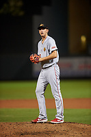 Mesa Solar Sox relief pitcher Nathan Bates (20), of the Los Angeles Angels organization, during an Arizona Fall League game against the Salt River Rafters on September 19, 2019 at Salt River Fields at Talking Stick in Scottsdale, Arizona. Salt River defeated Mesa 4-1. (Zachary Lucy/Four Seam Images)
