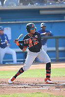 Luis Matos (18) of the San Jose Giants bats against the Rancho Cucamonga Quakes at LoanMart Field on August 22, 2021 in Rancho Cucamonga, California. (Larry Goren/Four Seam Images)