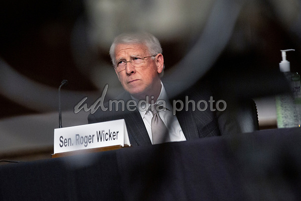 United States Senator Roger Wicker (Republican of Mississippi) listens during the U.S. Senate Committee on the Judiciary hearing on Capitol Hill in Washington D.C., U.S.,  as they consider the nomination of Cory Wilson to be United States Circuit Judge For The Fifth Circuit on Wednesday, May 20, 2020.  Credit: Stefani Reynolds / CNP/AdMedia