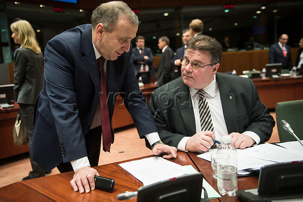 Grzegorz Schetyna, Polish Foreign Minister  (L) and Lithuanian Foreign Minister Linas Antanas Linkevi?ius   prior to the European Union Foreign Ministers Council at EU headquarters  in Brussels, Belgium on 29.01.2015 Federica Mogherini , EU High representative for foreign policy called extraordinary meeting on the situation in Ukraine after the attack on Marioupol.  by Wiktor Dabkowski