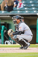 Guillermo Quiroz (6) of the Sacramento River Cats during the game against the Salt Lake Bees in Pacific Coast League action at Smith's Ballpark on April 20, 2015 in Salt Lake City, Utah.  (Stephen Smith/Four Seam Images)