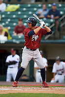 Lehigh Valley IronPigs outfielder Brian Bogusevic (16) at bat during a game against the Rochester Red Wings on May 15, 2015 at Frontier Field in Rochester, New York.  Rochester defeated Lehigh Valley 5-4.  (Mike Janes/Four Seam Images)