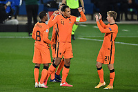 Virgil Van Dijk and Frenkie De Jong of Netherlands <br /> during the Uefa Nation League Group Stage A1 football match between Italy and Netherlands at Atleti azzurri d Italia Stadium in Bergamo (Italy), October, 14, 2020. Photo Andrea Staccioli / Insidefoto