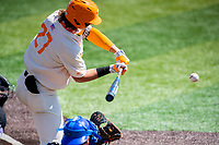 Tennessee Volunteers right fielder Jordan Beck (27) at bat against the Florida Gators on Robert M. Lindsay Field at Lindsey Nelson Stadium on April 11, 2021, in Knoxville, Tennessee. (Danny Parker/Four Seam Images)