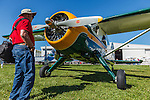 Visitor looking at De Havilland Beaver at 2014 Hood River Fly-In at WAAAM.