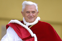 Pope Benedict XVI arrives to lead a liturgy of Vespers on the eve of Pentecost Sunday in San Peter's Square at the Vatican    .June 3. 2006.Pope Benedict XVI arrives to lead a liturgy of Vespers on the eve of Pentecost Sunday in San Peter's Square at the Vatican   June 3. 2006.