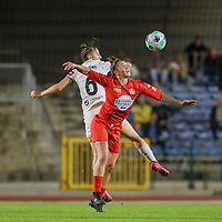 Zenia Mertens (6) of OHL and Celine Verdonck (27) of Woluwe battle for the ball during a female soccer game between FC Femina White Star Woluwe and Oud Heverlee Leuven on the fourth matchday in the 2021 - 2022 season of Belgian Scooore Womens Super League , Friday 10 th of September 2021  in Woluwe , Belgium . PHOTO SPORTPIX   SEVIL OKTEM