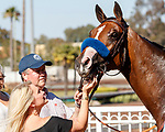 ARCADIA, CA  JULY 5:  #5 Gamine, gets a kiss and pats from Jill Baffert in the winners circle after winning the Great Lady M Stakes (Grade ll) on July 5, 2021 at Los Alamitos Race Course in Los Alamitos, CA.  (Photo by Casey Pnillips/ Eclipse Sportswire/ CSM)