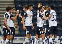 20th April 2021; Deepdale, Preston, Lancashire, England; English Football League Championship Football, Preston North End versus Derby County; Ched Evans of Preston North End celebrates scoring his side's second goal after 73 minutes
