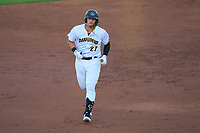 Bradenton Marauders Abrahan Gutierrez (27) rounds the bases after hitting a home run during Game Two of the Low-A Southeast Championship Series against the Tampa Tarpons on September 22, 2021 at LECOM Park in Bradenton, Florida.  (Mike Janes/Four Seam Images)