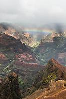 An overview of Wamea Canyon with a rainbow, Kaua'i.
