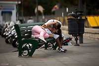 A couple makes out on Saturday, Sept. 19, 2015, in Sorrento, Italy. (Photo by James Brosher)