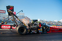Sep 26, 2020; Gainesville, Florida, USA; NHRA top fuel driver Leah Pruett during qualifying for the Gatornationals at Gainesville Raceway. Mandatory Credit: Mark J. Rebilas-USA TODAY Sports