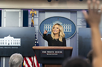 White House Press Secretary Kayleigh McEnany takes questions from reporters during a press briefing Friday, May 1, 2020, in the James S. Brady Press Briefing Room of the White House.<br /> <br /> People:  Kayleigh McEnany