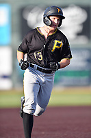 Bristol Pirates Aaron Shackelford (13) rounds the bases after hitting a home run during game two of the Appalachian League, West Division Playoffs against the Johnson City Cardinals at TVA Credit Union Ballpark on August 31, 2019 in Johnson City, Tennessee. The Cardinals defeated the Pirates 7-4 to even the series at 1-1. (Tony Farlow/Four Seam Images)