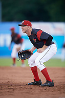 Batavia Muckdogs first baseman Ben Fisher (36) during a game against the West Virginia Black Bears on June 26, 2017 at Dwyer Stadium in Batavia, New York.  Batavia defeated West Virginia 1-0 in ten innings.  (Mike Janes/Four Seam Images)