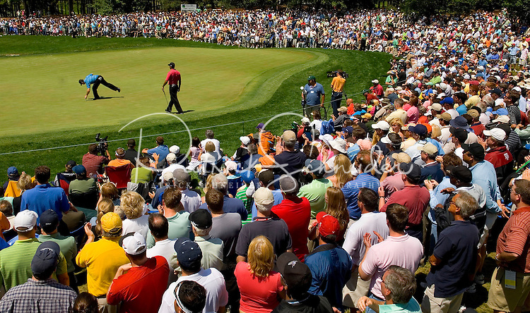 Wide angle view of the crowds gathered around a green to watch Tiger Woods play during the 2007 Wachovia Championships at Quail Hollow Country Club in Charlotte, NC.