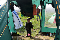 Pictured: A young boy in the camp Tuesday 01 March 2016<br />