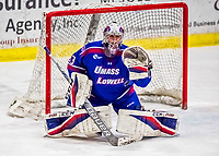 19 January 2018: University of Massachusetts Lowell Riverhawks Goaltender Tyler Wall, a Sophomore from Leamington, Ontario, makes an overtime save against the University of Vermont Catamounts at Gutterson Fieldhouse in Burlington, Vermont. The Riverhawks rallied to defeat the Catamounts 3-2 in overtime of their Hockey East matchup. Mandatory Credit: Ed Wolfstein Photo *** RAW (NEF) Image File Available ***