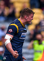 29th May 2021; Sixways Stadium, Worcester, Worcestershire, England; Premiership Rugby, Worcester Warriors versus Leicester Tigers; Ted Hill of Worcester Warriors celebrates scoring a try
