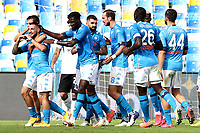 Matteo Politano of SSC Napoli celebrates with team mates after scoring the goal of 3-0 during the Serie A football match between SSC Napoli and Atalanta BC at San Paolo stadium in Naples (Italy), October 17th 2020. Photo Cesare Purini / Insidefoto