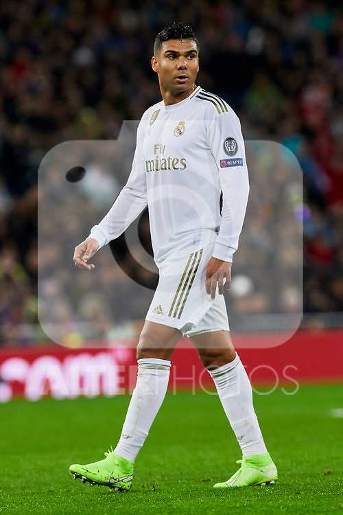 Carlos Henrique Casimiro of Real Madrid during UEFA Champions League match between Real Madrid and Paris Saint-Germain FC at Santiago Bernabeu Stadium in Madrid, Spain. November 26, 2019. (ALTERPHOTOS/A. Perez Meca)