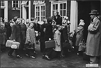 Flood of 1953 -  Amsterdam: a group of evacuated girls with a supervisor Date: November 20, 1953