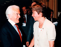 Montreal (Qc) CANADA - 1999 File Photo-Conference de Montreal,<br /> Jack Valenti,<br /> Louise Beaudoin