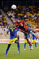 Edison Mendez (8)  of Ecuador and Maurice Edu (8)  of the United States. The men's national team of the United States (USA) Ecuador (ECU) during an international friendly at Red Bull Arena in Harrison, NJ, on October 11, 2011.