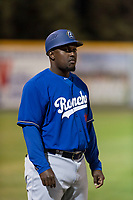 Rancho Cucamonga Quakes coach Elian Herrera (18) during a California League game against the Visalia Rawhide on April 9, 2019 in Visalia, California. Visalia defeated Rancho Cucamonga 8-5. (Zachary Lucy/Four Seam Images)