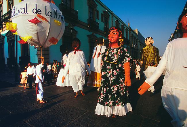 Calendas, giant paper mache figures in Guelaguetza Festival Procession, Oaxaca, Oaxaca State, Mexico, North America