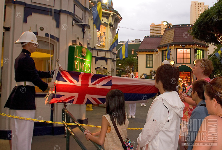 Changing of the King's Guards, a 6:15 pm nightly occurance at the King's Village Shopping Center, Waikiki, Hawaii