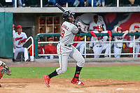 Montrell Marshall (48) of the Billings Mustangs follows through on his swing against the Orem Owlz in Game 2 of the Pioneer League Championship at Home of the Owlz on September 16, 2016 in Orem, Utah. Orem defeated Billings 3-2 and are the 2016 Pioneer League Champions. (Stephen Smith/Four Seam Images)