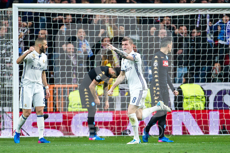 Toni Kroos of Real Madrid celebrates after scoring a goal during the match of Champions League between Real Madrid and SSC Napoli  at Santiago Bernabeu Stadium in Madrid, Spain. February 15, 2017. (ALTERPHOTOS)