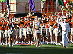 The Texas Longhorns band in action during the game between the Brigham Young Cougars and the Texas Longhorns at the Darrell K Royal - Texas Memorial Stadium in Austin, Texas. Texas defeats Brigham Young 17 to 16...