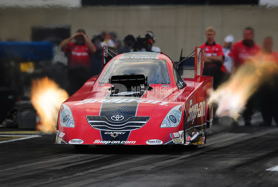 Sept. 30, 2011; Mohnton, PA, USA: NHRA funny car driver Cruz Pedregon during qualifying for the Auto Plus Nationals at Maple Grove Raceway. Mandatory Credit: Mark J. Rebilas-