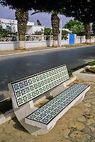 Ceramics, Nabeul, Tunisia.  Tiles Decorate Public Benches.