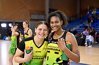 Paris Lokotui and Kelera Nawai of the Pulse, ANZ Premiership Netball - Te Wānanga o Raukawa Pulse v Southern Steel at Te Rauparaha Arena, Porirua, New Zealand on Sunday 16 May 2021.<br /> Photo by Masanori Udagawa. <br /> www.photowellington.photoshelter.com